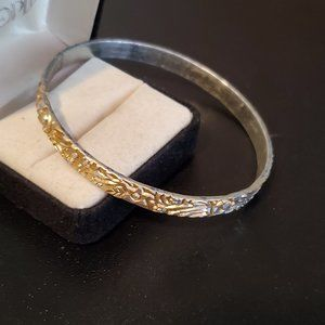 Jewelry - Silver and Gold Tone Bangle Bracelet Vintage Style